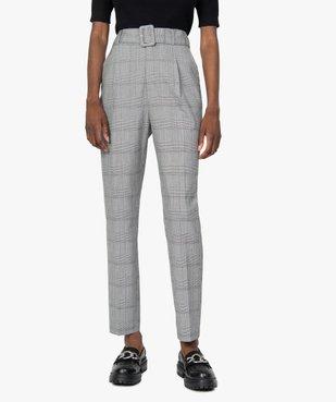 Pantalon femme à motif Prince de Galles taille haute vue1 - GEMO(FEMME PAP) - GEMO