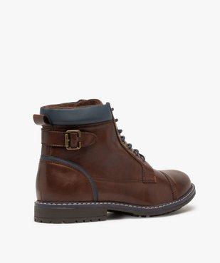 Boots homme à lacets contrastés et col rembourré vue4 - GEMO (CASUAL) - GEMO