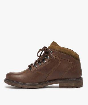Boots homme avec dessus cuir lisse et lacets montagne vue3 - GEMO (CASUAL) - GEMO