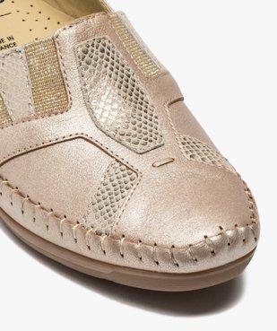 Mocassins femme confort en cuir et talon compensé vue6 - GEMO (CONFORT) - GEMO