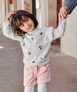Pull bébé fille avec motifs fleurs brodés et volant aux épaules vue6 - GEMO(BEBE DEBT) - GEMO