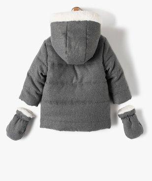 Parka bébé fille doublée à moufles et fermeture asymétrique vue5 - GEMO(BEBE DEBT) - GEMO