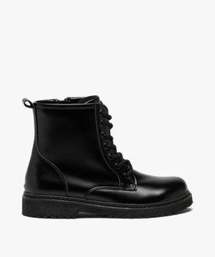 Boots fille unis à semelle crantée fermeture lacets et zip vue1 - GEMO (ENFANT) - GEMO