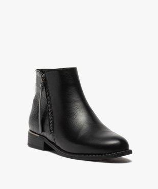 Boots femme unis à talon plat imitation croco vue2 - GEMO (CASUAL) - GEMO