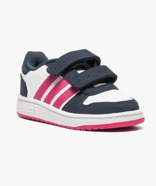 Basket basse tricolore à scratchs - Adidas Hoops 2.0 CMF vue2 - ADIDAS - GEMO