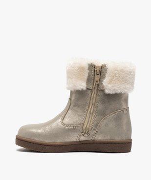 Boots fille à col rembourré en fourrure imitation vue3 - GEMO (ENFANT) - GEMO