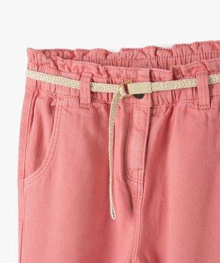 Pantalon fille ample avec taille haute et ceinture tressée vue2 - GEMO (ENFANT) - GEMO