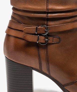 Boots femme à talon dessus cuir uni et brides décoratives vue6 - GEMO(URBAIN) - GEMO