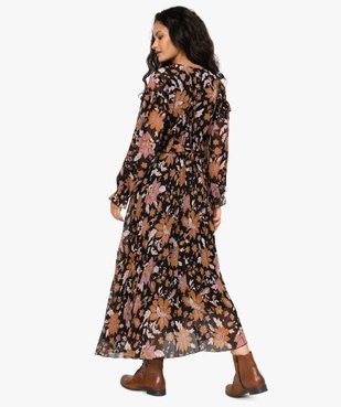 Robe femme longue en voile fleuri et plissé vue3 - GEMO(FEMME PAP) - GEMO