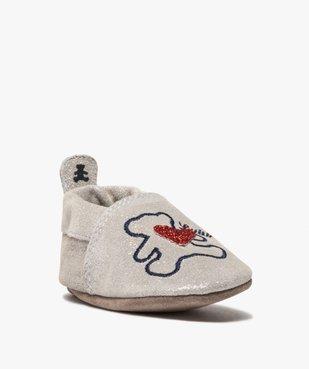 Chaussons de naissance bébé fille pailletés en cuir - LuluCastagnette vue2 - LULU CASTAGNETT - GEMO
