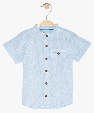 Chemise bébé garçon rayée à col mao en lin et coton vue1 - GEMO(BEBE DEBT) - GEMO
