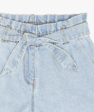 Short fille en jean taille haute avec ceinture à nouer vue2 - GEMO (JUNIOR) - GEMO