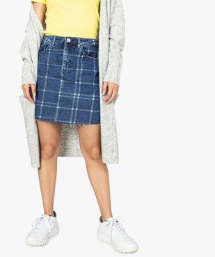Jupe femme en jean à motif carreaux et bord franc vue1 - FOLLOW ME - GEMO