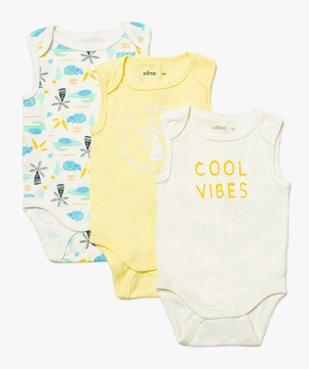 Body bébé garçon sans manches assortis à motifs tropicaux (lot de 3)  vue1 - GEMO C4G BEBE - GEMO