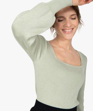 Pull femme en maille côtelée avec grand col carré vue2 - GEMO(FEMME PAP) - GEMO