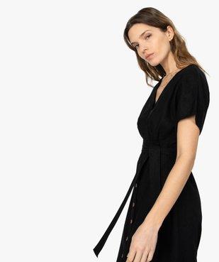 Robe femme boutonnée en lin/viscose vue2 - GEMO(FEMME PAP) - GEMO