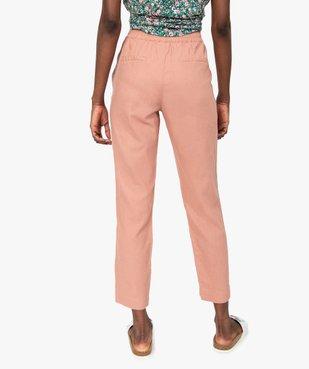 Pantalon femme en lin avec ceinture élastiquée vue3 - GEMO(FEMME PAP) - GEMO
