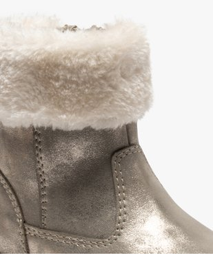 Boots fourrées bébé fille zippées dessus métallisé vue6 - GEMO(BEBE DEBT) - GEMO