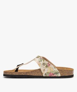 Sandales femme à entre-doigts imprimées de fleurs vue3 - GEMO (CASUAL) - GEMO