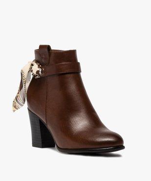 Boots femme unis à talon rainuré et ruban fantaisie vue2 - Nikesneakers(URBAIN) - Nikesneakers