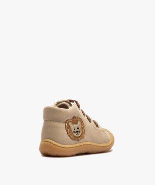 Bottines premiers pas bébé garçon en cuir avec décor lion vue4 - Nikesneakers(BEBE DEBT) - Nikesneakers