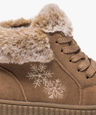 Boots fille zippées dessus suédine et col fourrure imitation  vue6 - GEMO (ENFANT) - GEMO