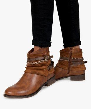 Boots femme talon plat zippés à brides décoratives vue1 - Nikesneakers (CASUAL) - Nikesneakers