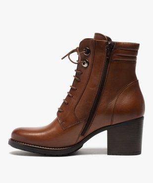 Boots femme unis à talon dessus cuir à lacets vue3 - GEMO(URBAIN) - GEMO