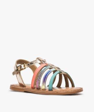 Sandales filles avec brides en cuir multicolores vue2 - GEMO (ENFANT) - GEMO
