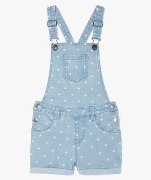 Salopette fille en jean coupe courte vue1 - GEMO (ENFANT) - GEMO