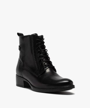 Boots femme à talon plat style derbies à lacets et zip vue2 - GEMO (CASUAL) - GEMO