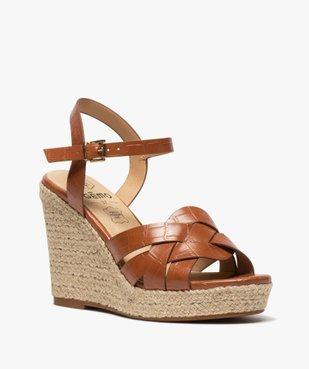 Sandales femme à talon compensé dessus imitation croco vue2 - GEMO(URBAIN) - GEMO