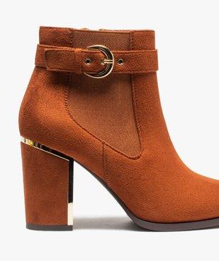 Boots femme à talon unis en suédine détails métallisés vue6 - Nikesneakers(URBAIN) - Nikesneakers