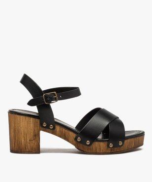 Sandales femme unies à talon imitation bois vue1 - GEMO(URBAIN) - GEMO