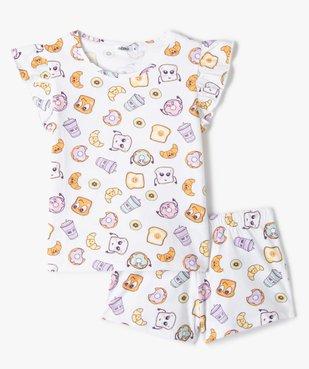 Pyjashort fille motif petit-déjeuner vue1 - GEMO (ENFANT) - GEMO