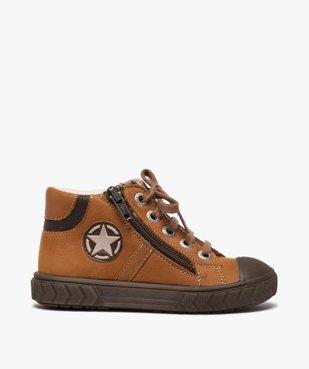 Boots garçon en cuir fermeture lacets et zip - Bopy vue1 - BOPY - GEMO