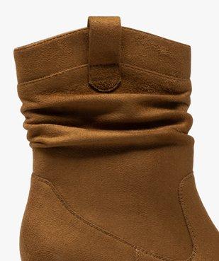 Boots femme à talon carré dessus en suédine unie vue6 - GEMO(URBAIN) - GEMO