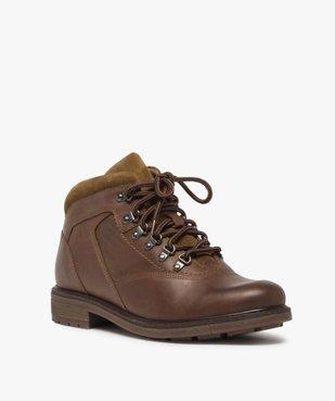 Boots homme avec dessus cuir lisse et lacets montagne vue2 - GEMO (CASUAL) - GEMO
