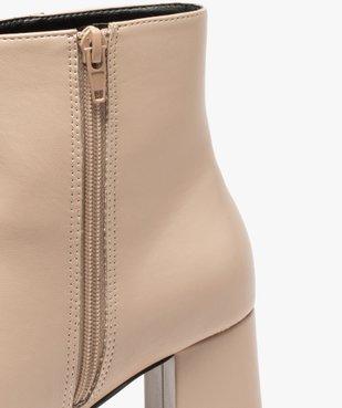 Boots femme unies à talon carré et semelle plateforme vue6 - GEMO(URBAIN) - GEMO