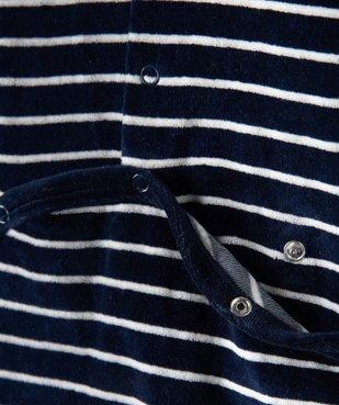 Pyjama bébé rayé en velours  avec inscription brodée vue3 - GEMO(BB COUCHE) - GEMO