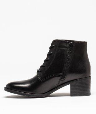Boots femme à talon dessus cuir uni fermeture lacets vue3 - GEMO(URBAIN) - GEMO
