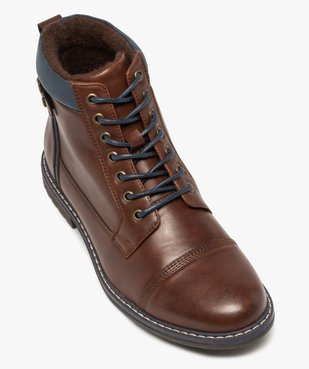 Boots homme à lacets contrastés et col rembourré vue5 - GEMO (CASUAL) - GEMO