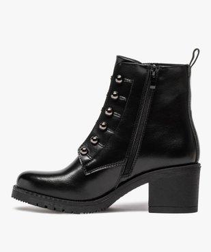 Boots femme à talon carré avec lacets chaînettes vue3 - GEMO(URBAIN) - GEMO