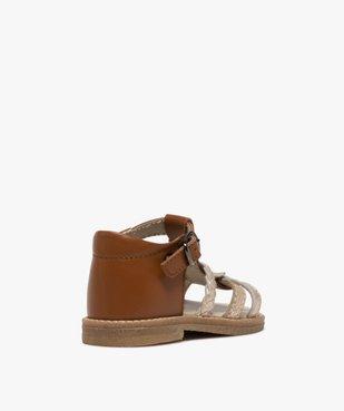 Sandales bébé fille en cuir talon fermé et brides métallisées vue4 - GEMO(BEBE DEBT) - GEMO