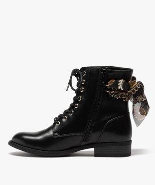 Boots femme à talon plat unis avec ruban fantaisie vue3 - GEMO (CASUAL) - GEMO