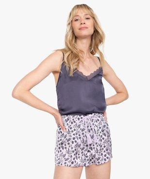Haut de pyjama femme à fines bretelles et dos dentelle vue1 - GEMO(HOMWR FEM) - GEMO