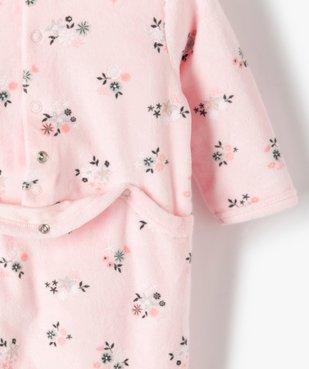 Pyjama bébé fille en velours à motifs fleuris vue4 - GEMO(BB COUCHE) - GEMO