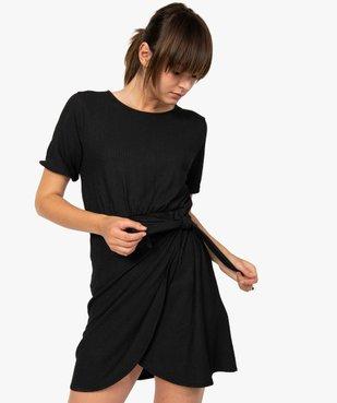 Robe femme à manches courtes avec bas façon portefeuille vue1 - GEMO(FEMME PAP) - GEMO