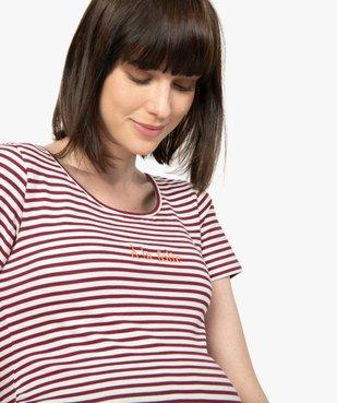 Tee-shirt de grossesse imprimé avec grand col rond vue5 - GEMO (MATER) - GEMO