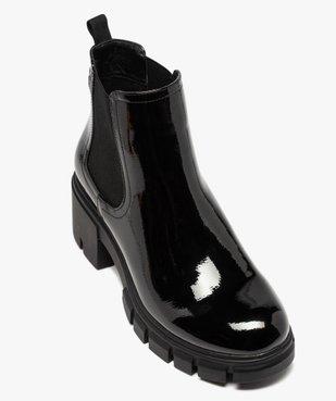 Boots femme à talon carré et semelle crantée dessus verni vue5 - GEMO(URBAIN) - GEMO